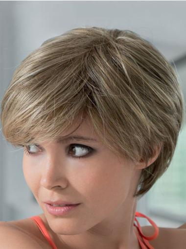 "Boycuts Blonde 8"" Flexibility Short Human Hair Lace Front Wigs"