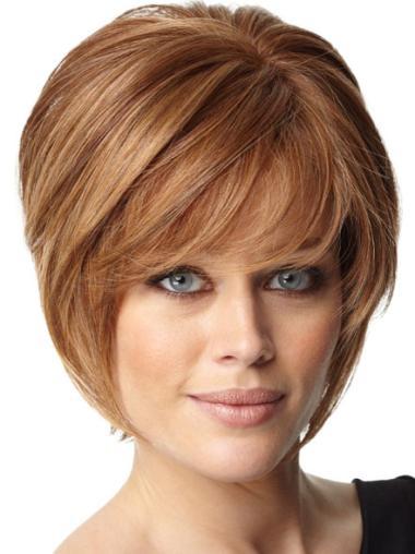 Designed Auburn Capless Short Bob Human Hair Lace Wigs