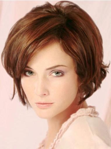 Beautiful Short Layered Auburn Human Hair Wigs Lace Front