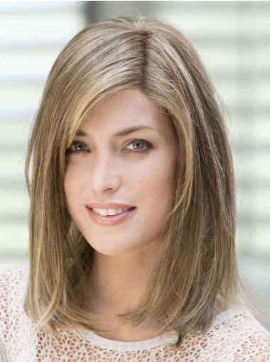 Affordable Shoulder Length With Bangs Brown Capless Remy Human Lace Wigs