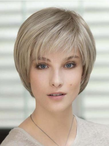 Natural Short With Bangs Blonde Hand Tied Human Hair Wigs