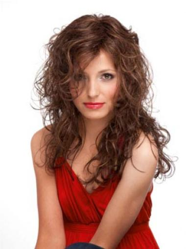 Auburn Curly Remy Human Hair Designed Long Layered Lace Wigs