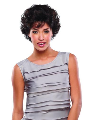 Curly Wigs Human Hair Brown Short Classic Cheapest