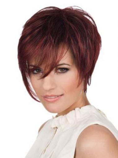Buy Red Human Hair Wigs Straight Short Boycuts