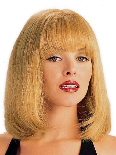 "Blonde Houlder Length 14"" Monofilament Human Hair Wig With Bangs"