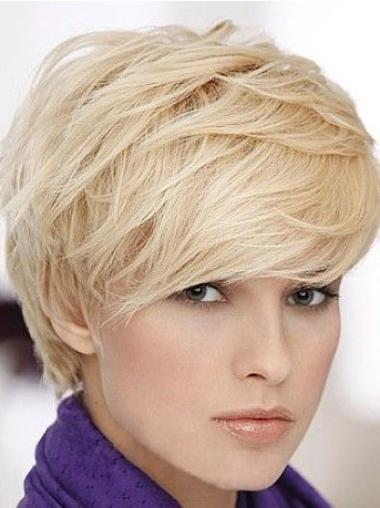 Capless Boycuts Sassy Cancer Patient Human Hair Wigs