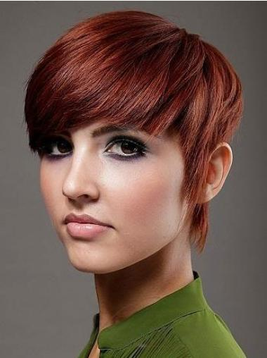 "Boycuts Short 6"" No-Fuss Cheap Red Human Hair Wigs"