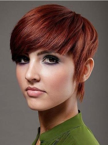 """Boycuts Short 6"""" No-Fuss Cheap Red Human Hair Wigs"""