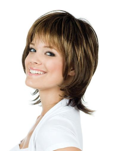"Brown Chin Length 12"" Exquisite Remi Human Hair Wigs With Bangs"