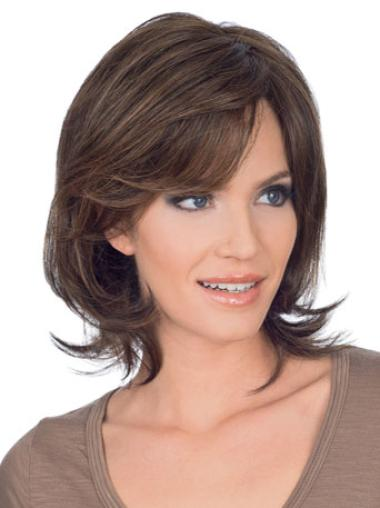 "Layered Brown Chin Length 10"" Cheap Human Hair Lace Front Wigs"