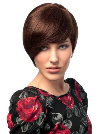 "Auburn 6"" Durable Human Hair Short Bob Wigs"
