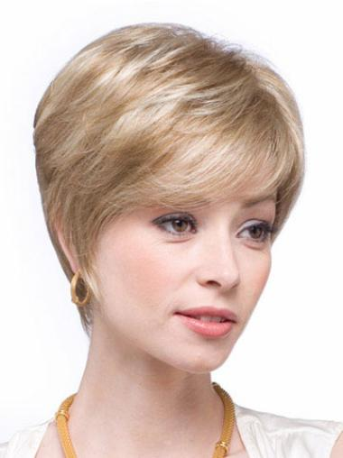 "Layered Blonde Short 6"" Amazing Natural Looking Human Hair Wigs"