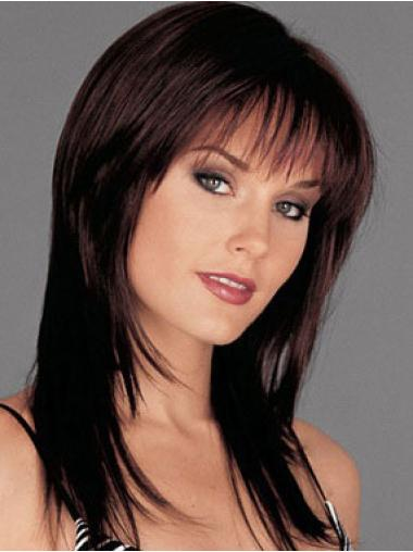 Auburn Straight Lace Front New Human Hair Long Wigs With Bangs