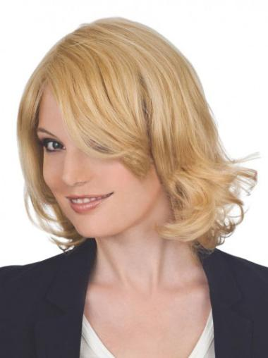 "Top Chin Length Layered 12"" Remy Human Hair Blend Lace Front Wigs"