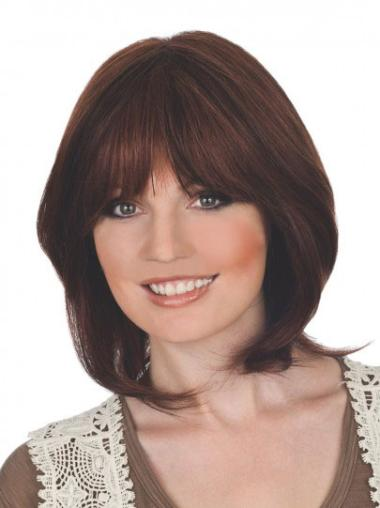Auburn Straight Chin Length Lace Front Best Remy Human Wigs With Bangs