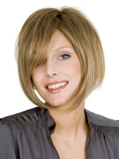 Blonde Straight Chin Length Online Bob Hand Tied Human Hair Wig