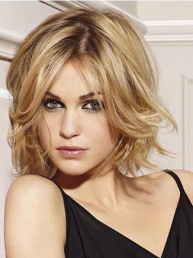 "10"" Popular Layered Blonde Cheap Human Hair Wigs Online"