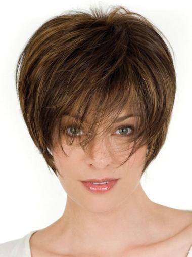 100% Human Hair Brown Wigs Layered Short