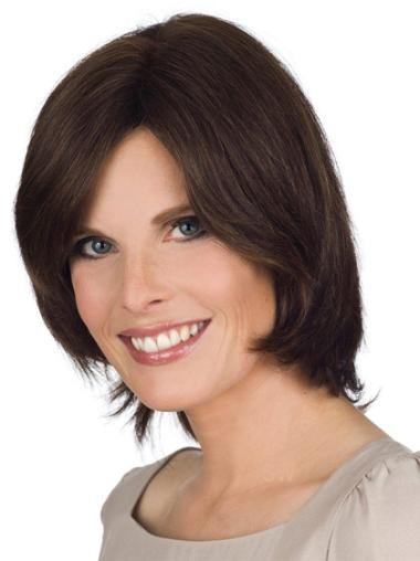 Brown Chin Length Incredible Lace Front Bob Wigs Human Hair