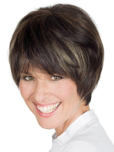 Boycuts Short Cheapest Remy 100% Human Brown Wigs