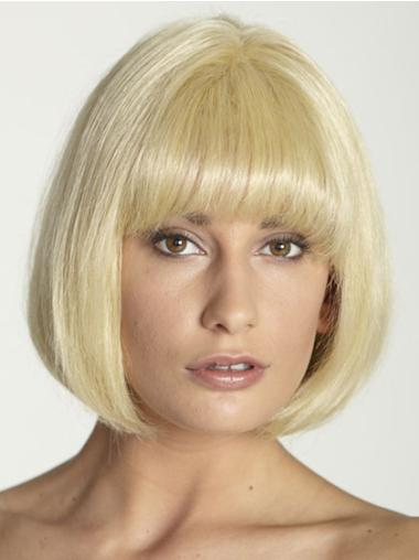 Sassy 10 Inches Chin Length Bobs Straight Hand Tied Blonde Straight Wigs