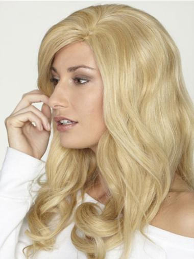 Without Bangs Blonde Long Good Remy Human Hair Curly Wigs