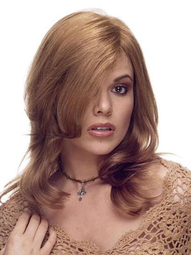 Layered Brown Style Remy Human Hair Long Wigs