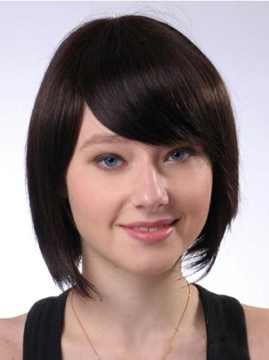 Chin Length Brown Capless Gorgeous Bob Wig Human Hair