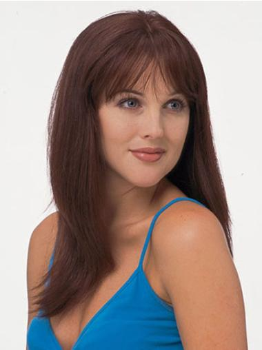 Straight Fashionable With Bangs Red 100% Full Lace Human Hair Wigs
