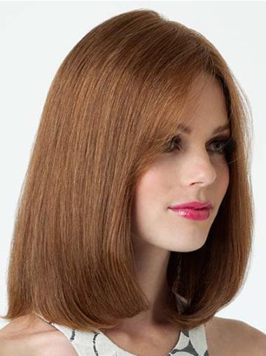 Straight Exquisite Bobs Remy Brunette Shoulder Length Human Hair Wig
