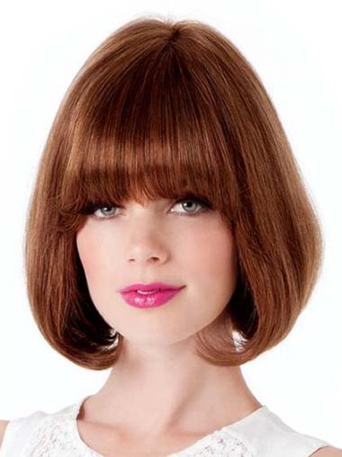 Straight Great Auburn Human Hair Bob Lace Front Wigs