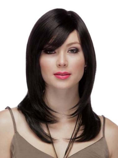 "16"" Black Long 100% Hand Tied Wig Human Hair"