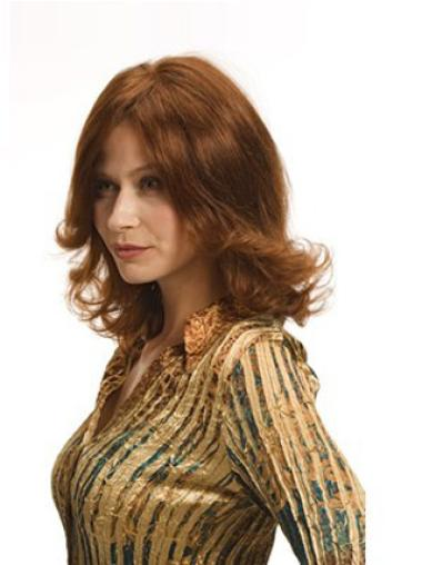 Auburn Wavy Shoulder Length Online Human Hair Hand Tied Wigs