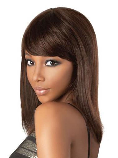 Lace Front Brown Shoulder Length Brown Human Hair Wig Short Bangs