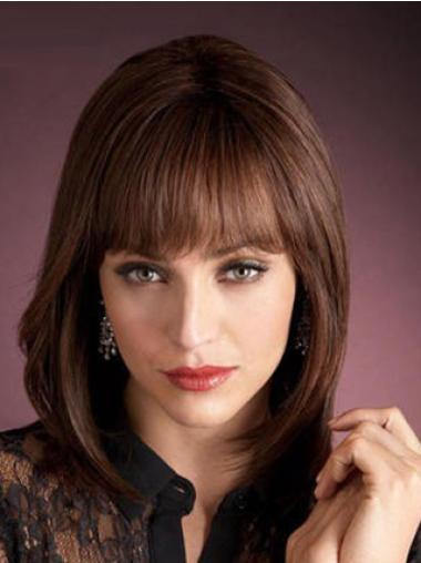 Capless With Bangs Beautiful Remy Shoulder Length Human Hair Wigs