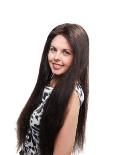 "Long Without Bangs 26"" Cheap Hand Tied Human Hair Wigs"