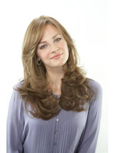 Wavy Natural Remy Golden Brown Human Hair Wig