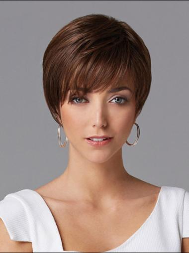 Straight Cropped Layered Suitable Dark Auburn Human Hair Wigs