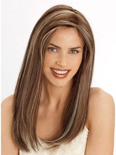 "Lace Front Straight 22"" Style Light Brown Human Hair Wigs"