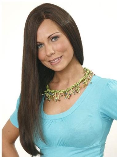 Brown Without Bangs Straight Fashionable Long Human Hair Wigs
