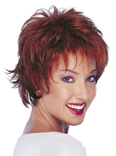 Wet And Wavy Human Hair Wig Red Boycuts