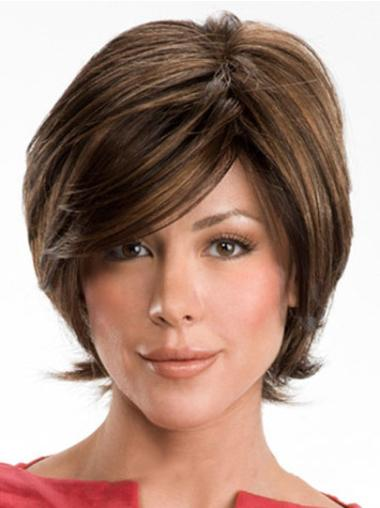 Brown Layered Wavy Perfect Human Hair Wavy Wigs