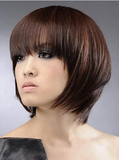 Durable Capless Auburn Chin Length 12 Straight Human Hair Wig