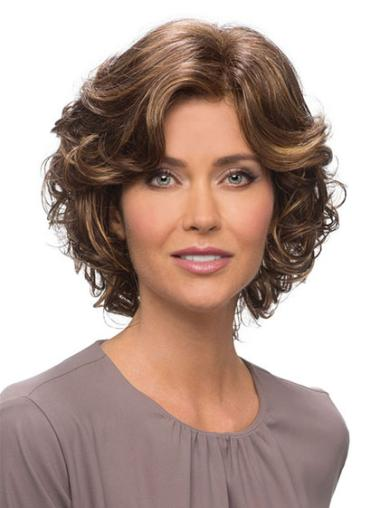 Best 10 Human Hair Wavy Wig Brown Wavy Chin Length 10""