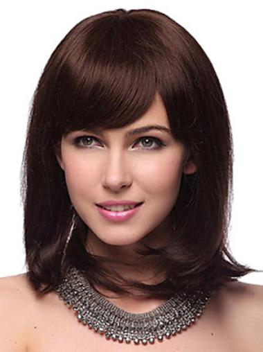 "Auburn Straight Shoulder Length 12"" Hairstyles Human Hair Capless Wigs"