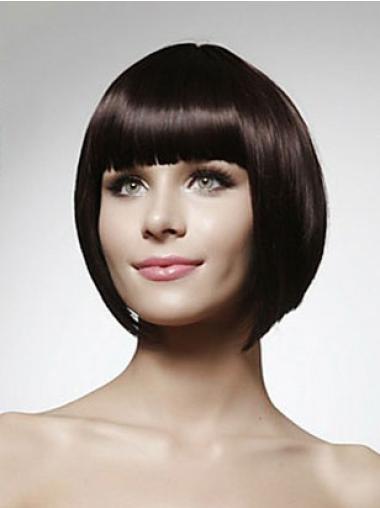 Chin Length Straight Capless Natural Black Bob Human Hair Wig
