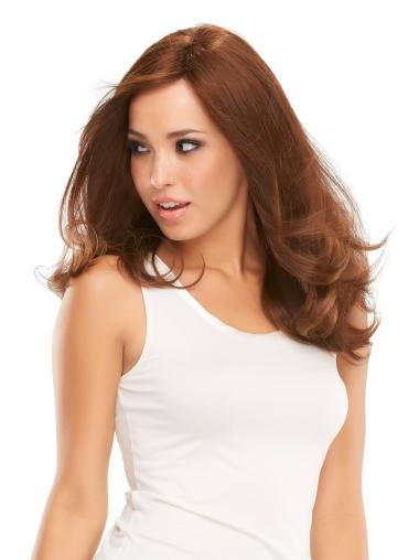 "Sassy 16"" Auburn Long Layered Wavy Mono 100 Percent Remy Human Hair Wigs"