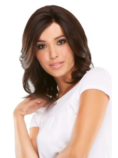 Shoulder Length Beautiful Auburn Wavy Layered Human Lace Front Wigs