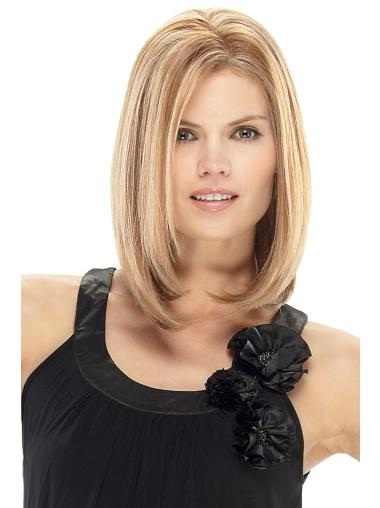 Shoulder Length Designed Straight Without Bangs Human Lace Front Wigs Blonde