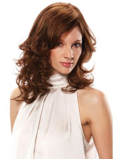 """Sleek Shoulder Length Wavy Brown 14"""" Wigs With Bangs Human Hair"""